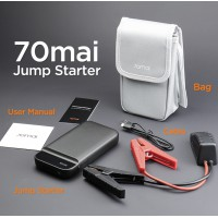 70mai - 3-in-1 Jump Starter met Powerbank - 11100Mah - 250A/600A Start Ampere - Starthulp met 12v Accu Lader voor Auto, Motor, Scooter, Boot - USB 5V/2.4A Poort - Draagtas - LED lamp