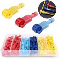 120 stuks T-Aftakverbinder en platte connector snelverbinder kit voor snelle verbindingskabel set (rood, blauw, geel)
