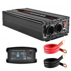 EnRise 12V-230V Zuivere Sinus Omvormer - 1000W/2000W + controller
