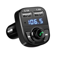 Bluetooth FM-Transmitter, 2 USB Autolader Draadloze in-Car-muziek-Adapter muziekspeler Handsfree car kit met USB Disk/SD kaart en 3,5 mm AUX jack voor smartphone